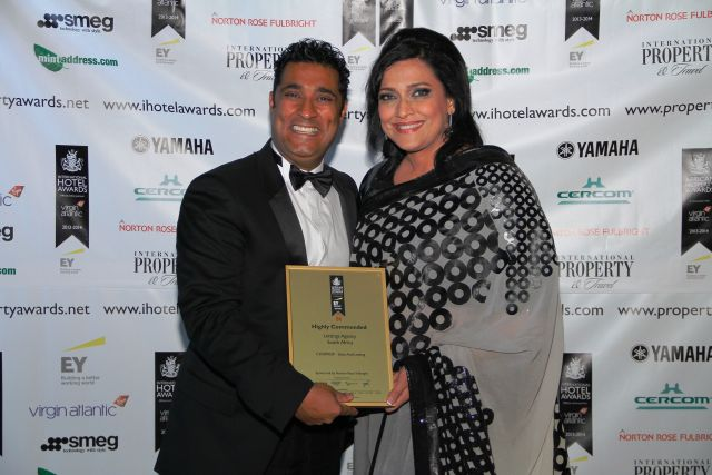 BEE Realtors scoop International Property Award for South Africa. Picture: Yusuf Essa (CEO) & Shazia Essa (Principal). Photo by: The International Property Awards UK
